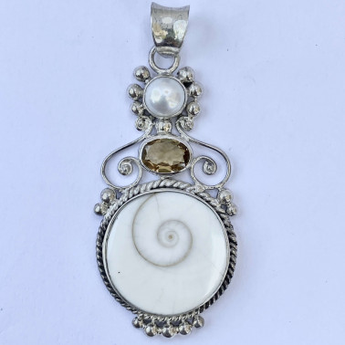 PD 07624 SW-CT-(HANDMADE 925 BALI SILVER PENDANT WITH SHIVA EYES SHELL, CITRINE AND PEARL)