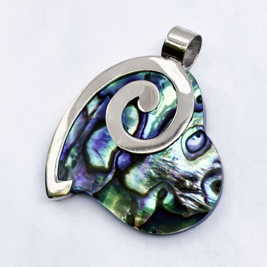 PD 08150 AB-(HANDMADE 925 BALI SILVER HEART PENDANT WITH ABALONE)