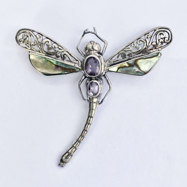 PD 08505 AB-AM-(HANDMADE 925 BALI SILVER DRAGONFLY PENDANT WITH ABALONE AND AMETHYST)