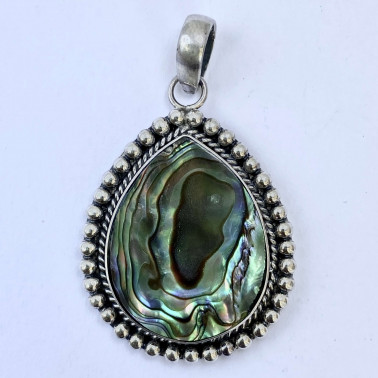 PD 08604 AB-(HANDMADE 925 BALI SILVER PENDANT WITH ABALONE SHELL)