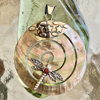 PD 08707 CM-GR-(HANDMADE 925 BALI DRAGONFLY STERLING SILVER PENDANTS WITH GARNET)