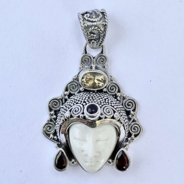 PD 08782 BN-(HANDMADE 925 BALI SILVER BONE FACE PENDANT WITH CITRINE)