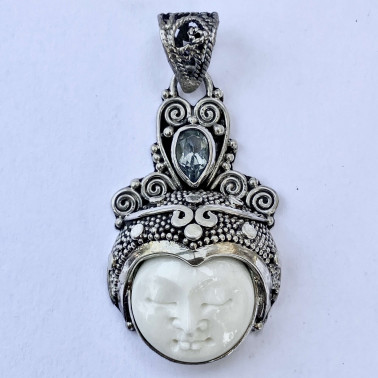 PD 08801 BN-(HANDMADE 925 BALI SILVER PENDANT WITH BONE FACE AND BLUE TOPAZ)
