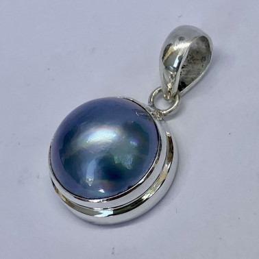 PD 09043 B-BPL-(HANDMADE 925 BALI SILVER PENDANT WITH BLUE COLORED MABE PEARL)