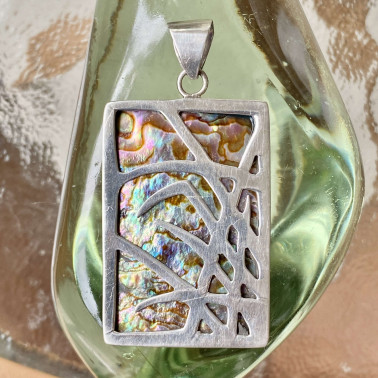 PD 09157 AB-(HANDMADE 925 BALI STERLING SILVER PENDANTS WITH ABALONE)