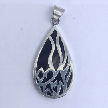 PD 09160 BS-(HANDMADE 925 BALI SILVER PENDANT WITH BLACK SHELL)