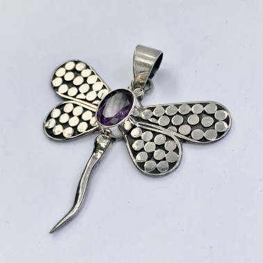 PD 09270 AM-(HANDMADE 925 BALI STERLING SILVER DRAGONFLY PENDANT WITH AMETHYST)
