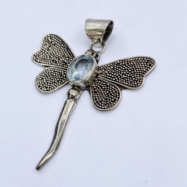 PD 09625 BT-(HANDMADE 925 BALI STERLING SILVER DRAGONFLY PENDANT WITH BLUE TOPAZ)