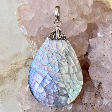 PD 10190 SL-(HANDMADE 925 BALI STERLING SILVER PENDANTS WITH SHELL)
