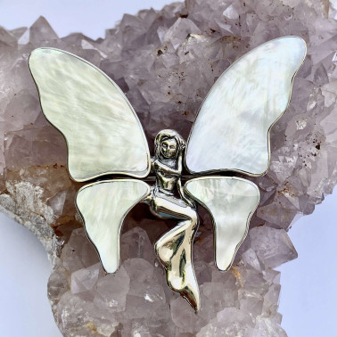 PD 10723 M-MP-(925 BALI SILVER ANGEL BUTTERFLY BROOCH PENDANT WITH MOTHER OF PEARL)