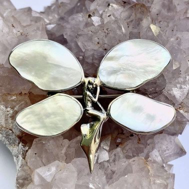 PD 10723 S-MP (SMALL)-(UNIQUE 925 BALI SILVER ANGEL BUTTERFLY BROOCH PENDANT WITH MOTHER OF PEARL)
