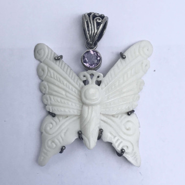 PD 10755 BN-AM-(HANDMADE 925 BALI SILVER BONE BUTERFLY PENDANT WITH AMETHYST)