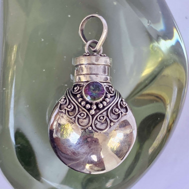 PD 11084 MT-(HANDMADE 925 BALI SILVER PERFUME PRAYER PILL BOX PENDANT WITH MYSTIC TOPAZ)