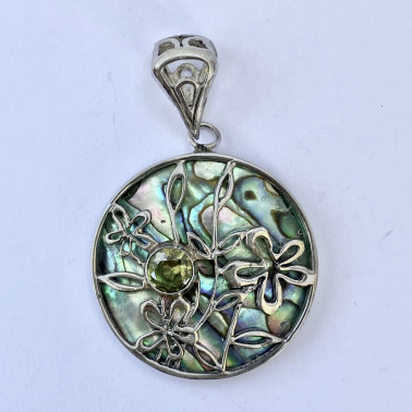 PD 11200 AB-PD-(HANDMADE 925 BALI SILVER PENDANT WITH ABALONE SHELL)