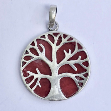 PD 11282 S-CR-(HANDMADE 925 BALI SILVER TREE OF LIFE PENDANT WITH CORAL)