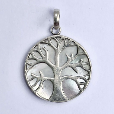 PD 11282 S-MP-(HANDMADE 925 BALI SILVER TREE OF LIFE PENDANT WITH MOTHER OF PEARL)