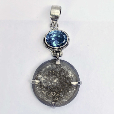PD 11748 DR-BLSC-(HANDMADE 925 BALI SILVER PENDANT WITH DRUSSY AND ZIRCONIA)
