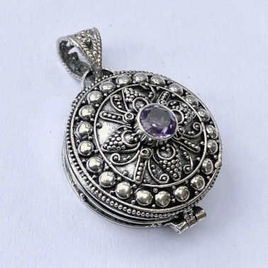 PD 12116 AM-(HANDMADE 925 BALI SILVER PERFUME PRAYER PILL BOX PENDANT WITH AMETHYST)