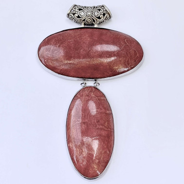 PD 12378 B-CR-(HANDMADE 925 BALI SILVER PENDANT WITH RED CORAL)