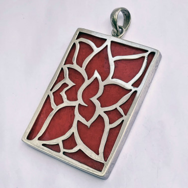 PD 12413 B-CR (Large)-(UNIQUE 925 BALI SILVER LOTUS PENDANT WITH CORAL)