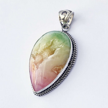 PD 12569 DR-(HANDMADE 925 BALI SILVER PENDANT WITH RAINBOW DRUSSY)
