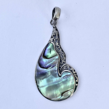 PD 13255 AB-(HANDMADE 925 BALI SILVER PENDANT WITH ABALONE SHELL)