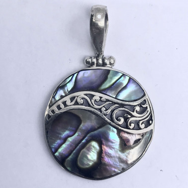 PD 13310 AB-(HANDMADE 925 BALI SILVER PENDANT WITH ABALONE)