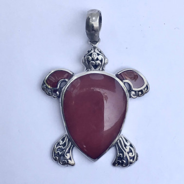 PD 13347 CR-(MEDIUM HANDMADE 925 BALI SILVER TURTLE PENDANT WITH CORAL)