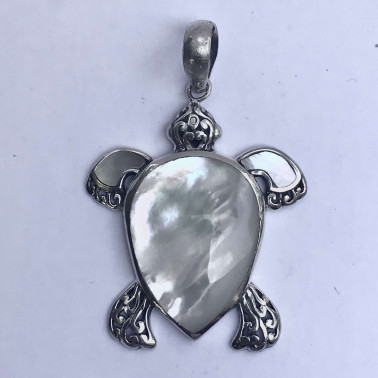 PD 13347 MP-(MEDIUM HANDMADE 925 BALI SILVER TURTLE PENDANT WITH MOP)