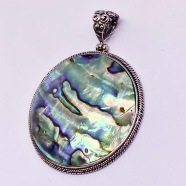 PD 13368 AB-(UNIQUE 925 BALI SILVER PENDANT WITH ABALONE)
