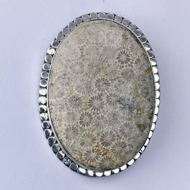 PD 13571-(HANDMADE 925 BALI SILVER PENDANT WITH FOSSIL CORAL SHELL)