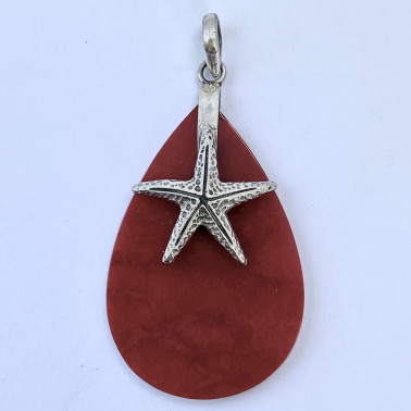 PD 13622 CR-(HANDMADE 925 BALI SILVER PENDANT WITH RED CORAL)