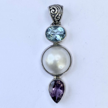 PD 14069 MX-(HANDMADE 925 BALI SILVER PENDANT WITH MABE PEARL AND MIXSTONE)