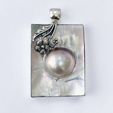 PD 14087-(HANDMADE 925 BALI SILVER PENDANT WITH MABE SHELL)