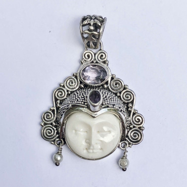 PD 14136 BN-(HANDMADE 925 BALI SILVER BONE FACE PENDANT WITH AMETHYST)