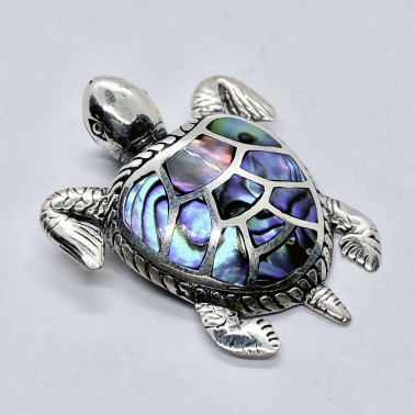 PD 14201 AB-(HANDMADE 925 BALI SILVER TURTLE PENDANT WITH ABALONE)