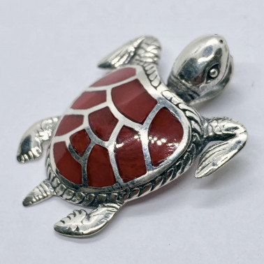 PD 14201 CR-(HANDMADE 925 BALI SILVER TURTLE PENDANT WITH CORAL)