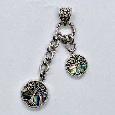 PD 14293 AB-(HANDMADE 925 BALI SILVER TREE OF LIFE PENDANT WITH ABALONE)