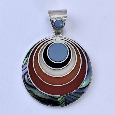 PD 14308-(HANDMADE 925 BALI SILVER PENDANT WITH SHELL)