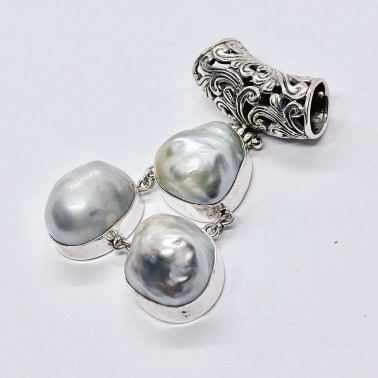 PD 14574 BQ-(HANDMADE 925 BALI SILVER DANGLE PENDANT WITH BAROQUE PEARL)