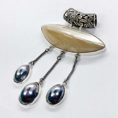 PD 14579-(VINTAGE 925 BALI SILVER DANGLE PENDANT WITH MOTHER OF PEARL and NAUTILUS)