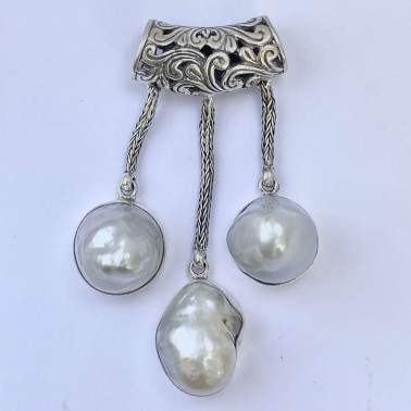 PD 14582-(HANDMADE 925 BALI SILVER DANGLE PENDANT WITH BAROQUE PEARL)
