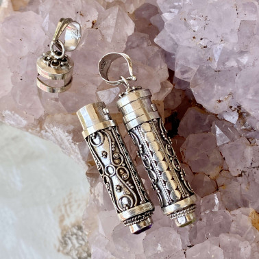PD 14594 AM-( HANDMADE 925 BALI SILVER PRAYER PERFUME BOX PENDANT WITH AMETHYST)
