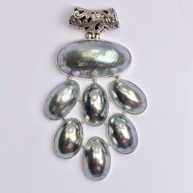 PD 14619 NT-(HANDMADE 925 BALI SILVER  PENDANT WITH  SHELL)