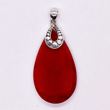 PD 14711 CR-(HANDMADE 925 BALI SILVER ARMADILLO PENDANT WITH CORAL)