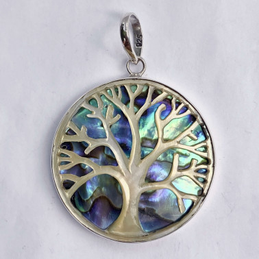 PD 14758 AB-(925 BALI SILVER HAND CARVING TREE OF LIFE SHELL PENDANT WITH ABALONE)
