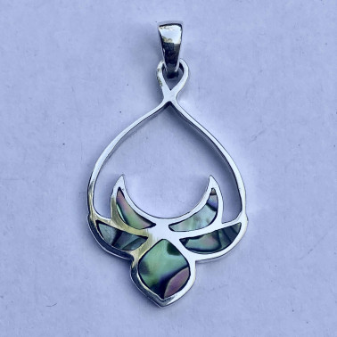 PD 14781 AB-(HANDMADE 925 BALI SILVER PENDANTS WITH ABALONE)