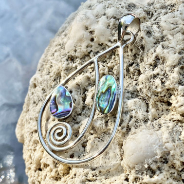 PD 14784 AB-(HANDMADE UNIQUE 925 BALI SILVER PENDANT WITH ABALONE)