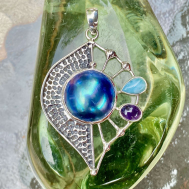 PD 14799 MIX-(HANDMADE 925 BALI STERLING SILVER PENDANTS WITH BLUE MABE PEARL)