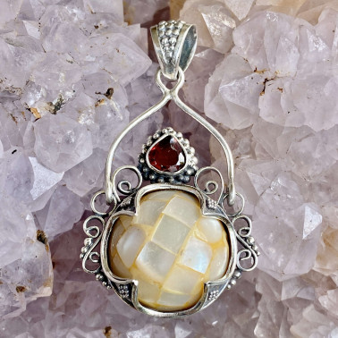 PD 14832-(HANDMADE 925 BALI STERLING SILVER PENDANTS WITH SHELL)